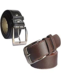 Sunshopping men's Synthetic leather black and brown needle pin point buckle belts combo (LAFFT)