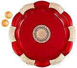 Bombay Haat Big Size Designer Red and Golden Puja Thali/Engagement Ring Platter/Rakhi Platter/Tilak Thali with Two Katoris