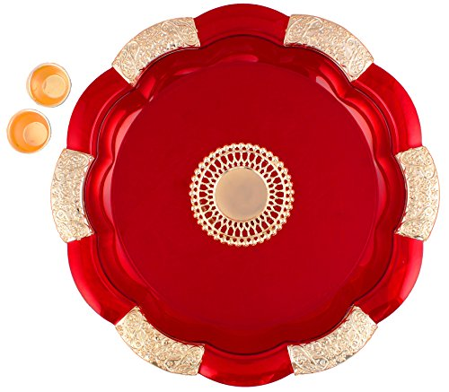 Bombay Haat Big Size Designer Red and Golden Puja Thali / Engagement...
