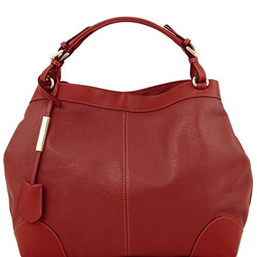 Tuscany Leather Ambrosia - Borsa in pelle morbida con tracolla Rosso Borse donna a mano in pelle Rosso