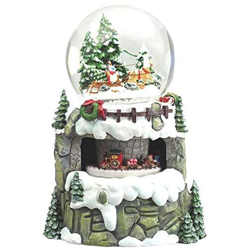 Arte degli argenti carillon villaggio di montagna con sfera vetro e neve luminosa treno trenino che gira babbo natale con renne 8 melodie natalizie e luci led 58064