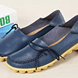 Womens Leather Loafers Moccasins Fashion Comfy Driving Flat Comfortable Shoes