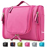 Heavy Duty Waterproof Hanging Toiletry Bag - Travel Cosmetic Makeup Bag for Women & Shaving Kit Organizer Bag for Men - Large Size: 26*11.5*21.5cm (Pink)