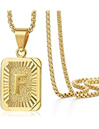 Trendsmax Cadena Mujer Hombre Collar colgante Chapado en oro Cuadrado cartas A-Z con cuadro de Enlace