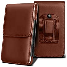 SHARP AQUOS CRYSTAL Holster Case - ( Brown ) Universal Vertical Pouch Flip Belt Clip PU Leather Wallet Case Bag ( SHARP AQUOS Funda Crystal Case - ( marrón ) Universal funda Vertical Flip Clip de cinturón de cuero pu Bolsa funda monedero  )
