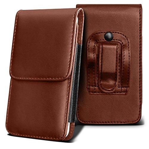 CAT S60 Holster Case - ( Brown ) Universal Vertical Pouch Flip Belt Clip PU Leather Wallet Case Bag ( CAT S60 Gürteltasche - ( braun ) Universal Pouch Flip Gürtelclip PU Leder Tasche Case Tasche )