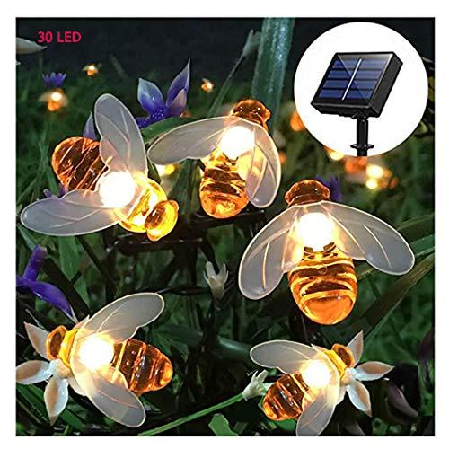 Solar Lichterketten Outdoor Wasserdichte Simulation Honey Bees Decor für Garten Landschaft Dekorationen Warmweiß (30LED) (Bee Honey Dekorationen)