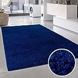 Shaggy-Teppich, Flauschiger Hochflor Wohn-Teppich, Einfarbig/ Uni in Blau für Wohnzimmer, Schlafzimmmer, Kinderzimmer, Esszimmer, Größe: Läufer 80 x 150 cm
