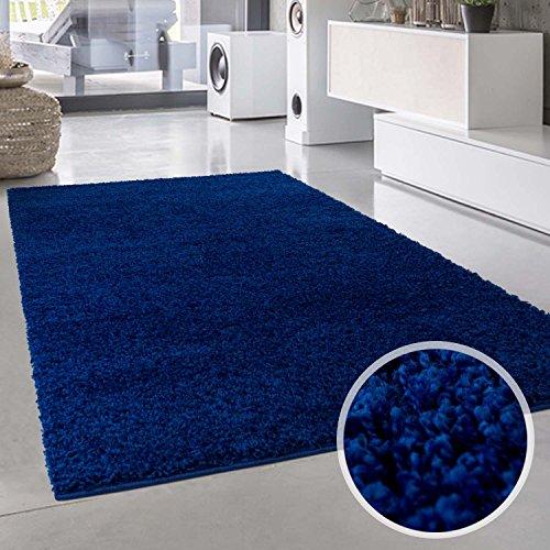 Tappeto a pelo lungo in tinta unita, di forma rotonda, certificato oeko-tex, colore: blu, polipropilene, blue, 100 cm_x_200 cm