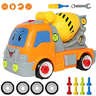 Buyger Take Apart Toy Cement Mixer Truck for 3 Years Old Boys Construction Vehicle Toy to Assemble with Tools Screwdriver