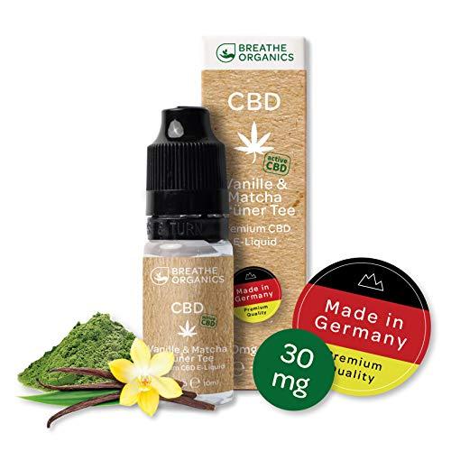 Premium CBD Liquid Vanille & Matcha Grüner Tee von Breathe Organics® | E Liquid ohne Nikotin mit 30 mg CBD | 100{93c86b5863f837919bd1dafb792371f2f429e807772316db00cd4e75835141cb} natürliche Terpene | Cannabidiol Liquid | VGmax Basis