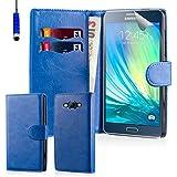 32nd Etui Coque en Cuir PU Portefeuille per Samsung Galaxy A3 (2016) Housse avec fentes CB et Clapet Fermeture Magnétique - Bleu Foncé