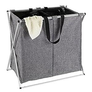 WENKO 62151100 Wäschesammler Duo meliert-/Wäschekorb Fassungsvermögen: 120 l, 59 x 57 x 38 cm,  grau