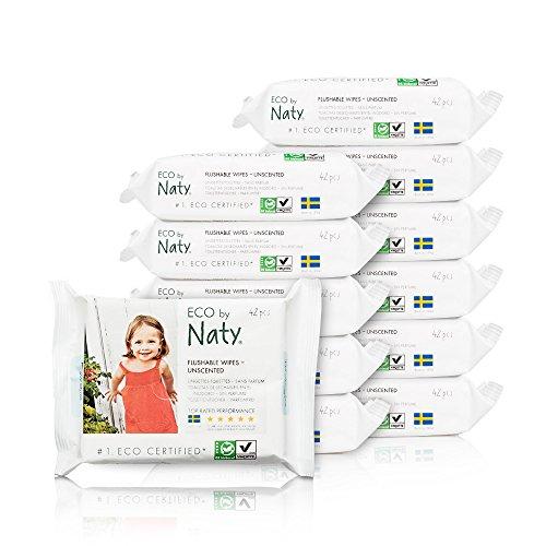 Nature Babycare Eco-Toddler Flushable Wipes, Fragrance-Free, 12 paquetes, 504 unidades