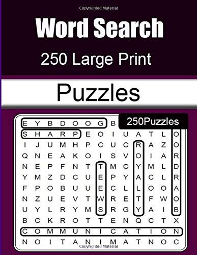 Word Search 250 Large Print  Puzzles: Brain-stimulating puzzle activities for many hours of entertainment por poppes tete