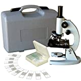 AmScope M60A-ABS-PS25 Beginner Microscope Kit, LED and Mirror Illumination, WF10x and WF16x Eyepieces, 40x-640x Magnification, Includes Case and Set of 25 Prepared Slides by AmScope