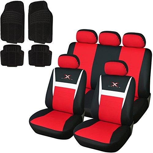 WOLTU 7312+7145 Auto Sitzbezug Sitzbezüge Schonbezüge für PKW ohne Seitenairbag, inkL. Fußmatten aus Gummi, Universal Passend, Schwarz/rot