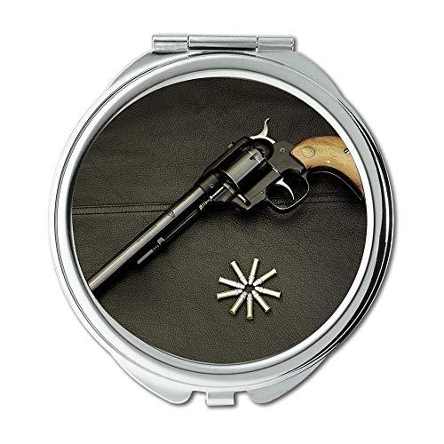 Spiegel, Compact Mirror, Waffen und Rosen, Runder Spiegel, alle Waffen, Taschenspiegel, tragbarer Spiegel