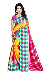 sarees(sarees for women latest design sarees below 300 rupeessarees new collection party wearsaree for womensaree for women designer latestsarees new collectionsarees below 500 rupees - Aybeez PINK SQUARE Bhagalpuri Art Silk Saree)