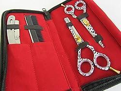 5.5 Professional Barber Razor Edge Titanium Coated Hair Cutting and Texturizing Shears Scissors Set+case Black