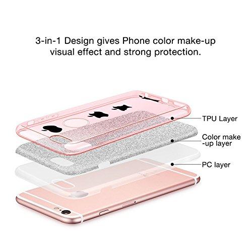 iPhone 6/6S Plus Hülle, Vanki® Luxus Hardcase Glitzer Schutzhülle Bling Hardcase Handyhülle Etui Case Für iPhone 6/6s plus (5,5 Zoll) (iPhone 6/6S Plus, schwarz) Rose Gold