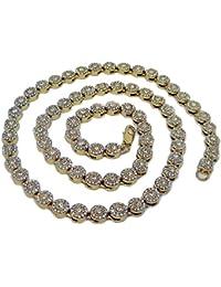 Collar chapado en oro, brillante, estilo hip hop, con piedras brillantes en forma de flor.