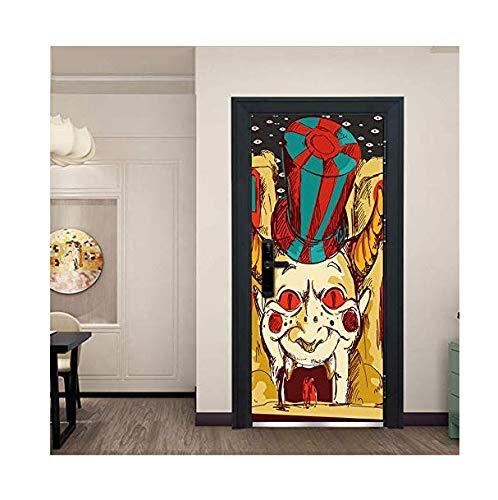 Wohnzimmer Dekoration Aufkleber Halloween Scary Clown Hohe Qualität 3D Mode Kunst Label Wanddekoration Aufkleber Tür Fenster Poster Removable Wandbild Dekoration Szene