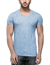 Tinted Men's Polyester Linen V-Neck Half Sleeve T-Shirt
