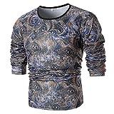 MRULIC Mode Herren Langarm Printed Shirt Top Sweater Pullover(Blau,EU-46/CN-L)