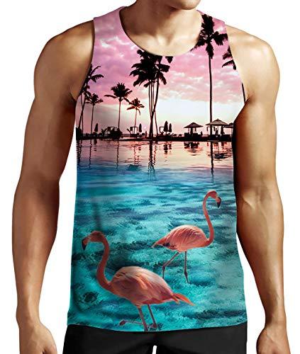 Idgreatim Mens Hawaiian Coconut Tree Print Strand Aloha Tank Tops für Strand XXL - Tree Print Shirt
