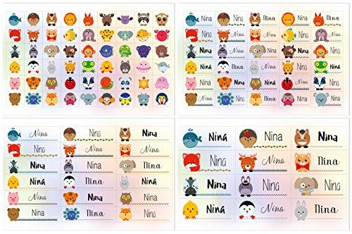 Kigima 114 Aufkleber Sticker Namens-Etiketten rechteckig Nina Verschiedene Größen und Tiermotive