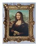 Mona Lisa Bild mit Barock Rahmen in Gold Wandbild von Leonardo da Vinci 56x46 cm Kunstdrucke Gemälde Retro Repro Antik für Home Büro Praxis Café