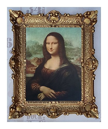 Mona Lisa Bild mit Barock Rahmen in Gold Wandbild von Leonardo da Vinci 56x46 cm Kunstdrucke...