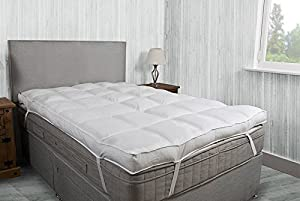 "Luxury 4"" Thick Supersoft Heavy Fill Microfibre Mattress Topper All Sizes"