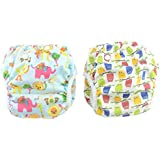 Reuseable Swim Diapers Large One Size 2pcs Pack Washable &Adjustable For Swimming Lesson &Baby Shower Gifts (Owl And Elephant)