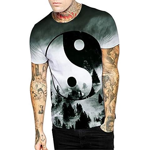 Männer Runde Kragen Tee China Acht Diagramme Wald T-Shirts Activewear M (Das Diagramm)