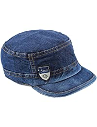 BEZZARE Classic Denim Hat Army Cool Looking Self Design Skull Blue Jeans Cap