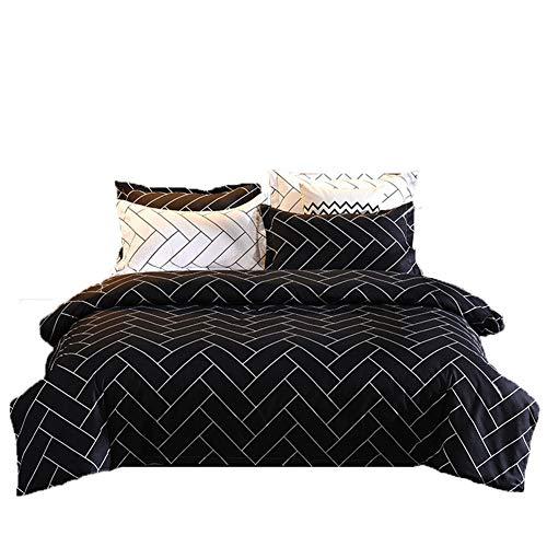 LUCKME Bettbezug-Kopfkissenbezug, einfache Schwarze und weiße Twill Print Bettbezug Bettwäsche Quilt Fall Pillowslip Active Printing Polyester für Schlafzimmer Daybed 3pcs,Double - Schwarzes Daybed Bettwäsche-set
