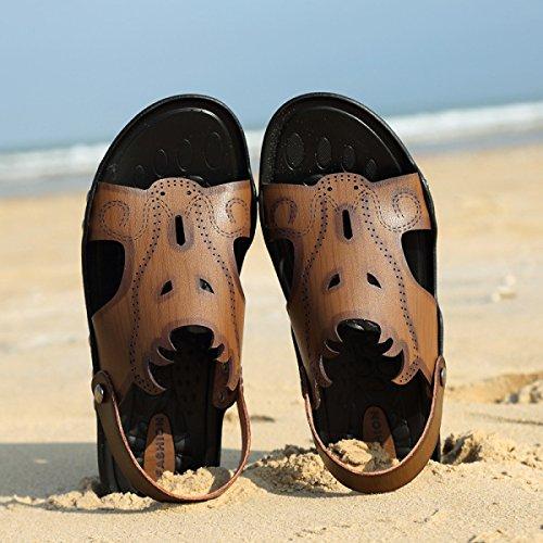 LXXAMens Estate Spiaggia Maschio Slipper Cuoio Reali Sandali Scarpe Da Trekking Due Usi Khaki