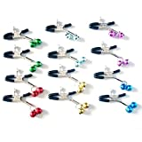 jytop un par cadena pinzas Metal Nipple Clamps Clips con 2campanas para mujeres hombres couples-color es aleatorio