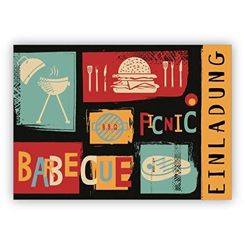 12x Coole Retro Grill Party Einladungskarte für BBQ Picknick Fans mit farbigem Innendruck zum Ausfüllen inkl Umschlag - Barbecue Party Einladung • laden Sie Freunden & Familie ein um zu feiern
