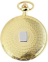 Tavo Lino Analog Reloj de bolsillo con cadena de metal y cierre de gancho 480802000071Oro Coloreado Carcasa en tamaño 47mm x 11mm con esfera de color blanco y cristal mineral.
