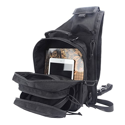 YAKEDA® Im Freien taktisches Schulter-Rucksack, Militär und Sport-Beutel-Satz Daypack für Camping, Wandern, Trekking, Rover Sling - KF043 (Mud color) schwarz