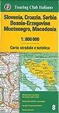 Slovenia, Croazia, Serbia, Bosnia Erzegovina, Montenegro, Macedonia 1:800.000. Carta stradale e turistica. Ediz. multilingue