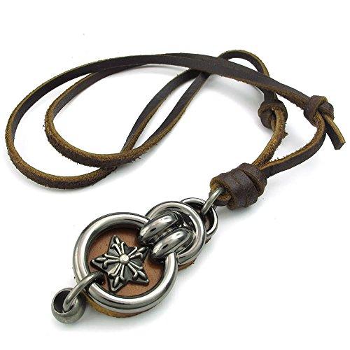 KONOV Schmuck Herren Damen Halskette, Retro Pentagramm Amulett, Verstellbaren Größen Legierung Anhänger mit Leder Kette, Braun