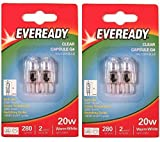 4 x Eveready G4 20W 12V Halogen Capsule Light Bulbs, Dimmable Lamps, 280 Lumen, 2000 Hours Life, Clear Finish