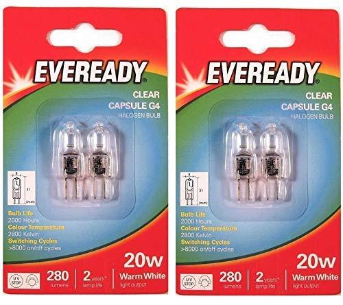 4 x Eveready G4 20W 12V Halogen Kapsel Glühbirnen Dimmbar Lampe 240 Lumen 3 Jahre Life Klar Ausführung -