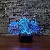 wangZJ 3d Visuelle Illusion Lampe / 7 Farbwechsel Nachtlichter/wohnkultur/Kinder Schlafzimmer/Led Kunst/geburtstag Spielzeug/Hund Form