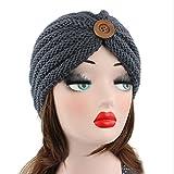 Hosaire Femme Hiver Chapeau Fille Doux Tricoté Bonnet Mode Bouton Ski Chapeau Chaud Crochet Béret Casquette Solid Couleur Gris
