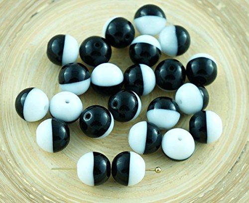 20pcs Nero Opaco Bianco, Due Tonalità di Colore di Vetro ceco Perle 8mm